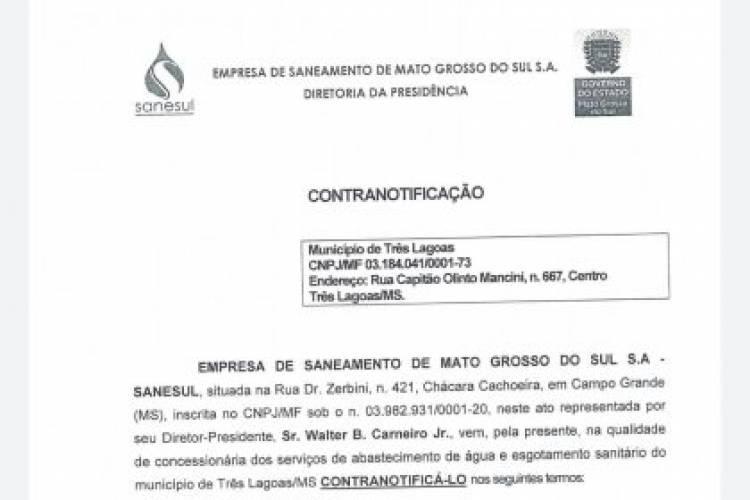 Prefeitura recebe contranotificação da Sanesul e prepara novas medidas